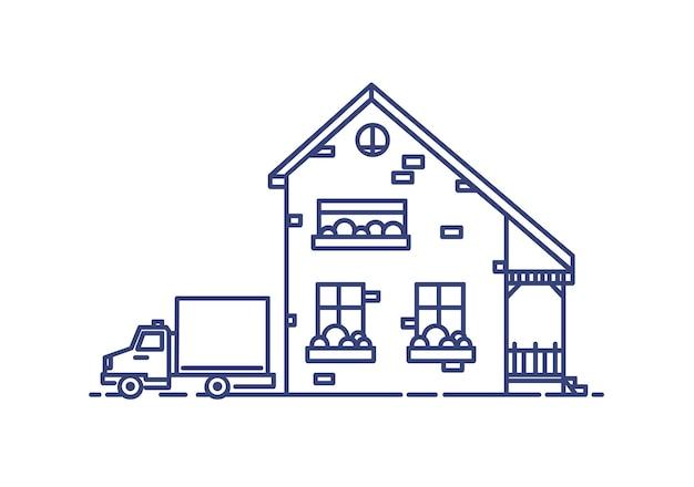 Casa suburbana de dois andares com varanda construída com tijolos e caminhão estacionado ao lado dela. edifício residencial desenhado com linhas azuis sobre fundo branco. ilustração em vetor monocromático em estilo lineart.