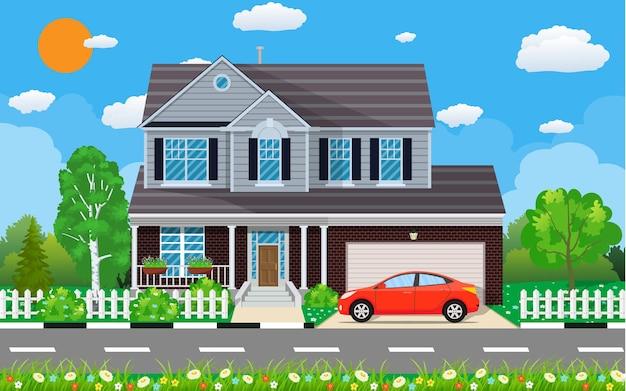 Casa suburbana privada com carro, árvores, estrada, céu e nuvens.
