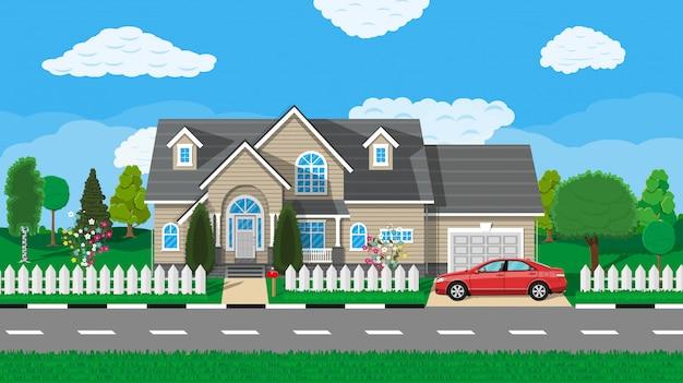 Casa suburbana privada com carro