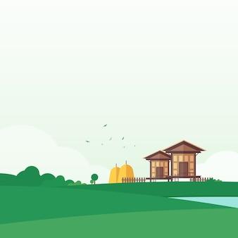 Casa tailandesa vintage na ilustração em vetor flieds localização