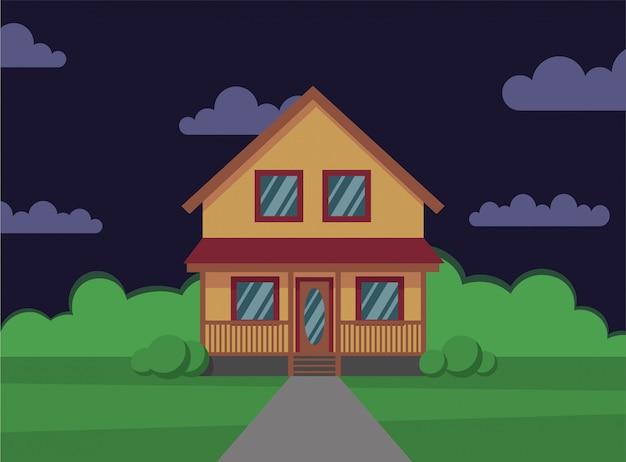 Casa tradicional. casa de família. noite. ilustração do conceito de design plano. - estocar o estilo simples.