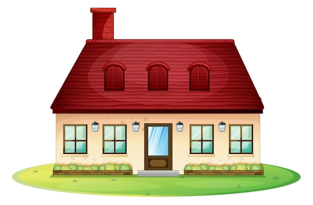 Casa única com telhado vermelho e chaminé