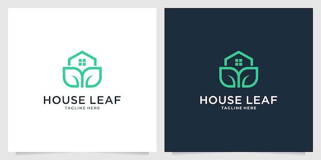 Casa verde com logotipo da folha
