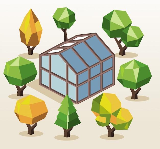 Casa verde e árvores