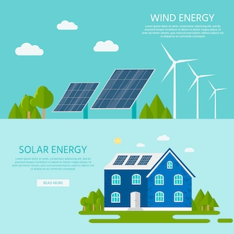 Casa verde moderna com painéis solares e turbina eólica. energia alternativa ecológica. infografia do ecossistema. ilustração vetorial plana.