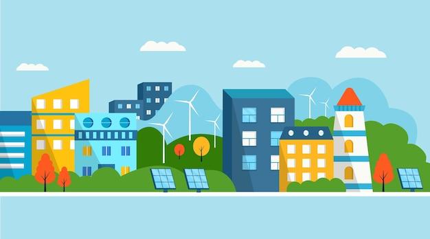 Casa verde moderna com painéis solares e turbina eólica. energia alternativa ecológica. paisagem da cidade do ecossistema. ilustrações planas