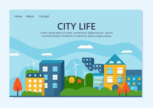 Casa verde moderna com painéis solares e turbina eólica. energia alternativa ecológica. paisagem do ecossistema da cidade. ilustração em vetor plana.