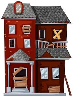 Casa vermelha com mau estado