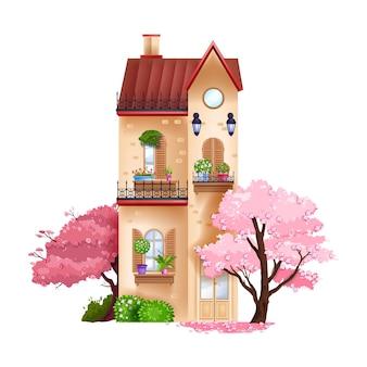 Casa vintage, fachada de prédio de primavera exterior com janela, varanda, telhado vermelho, parede de tijolos.