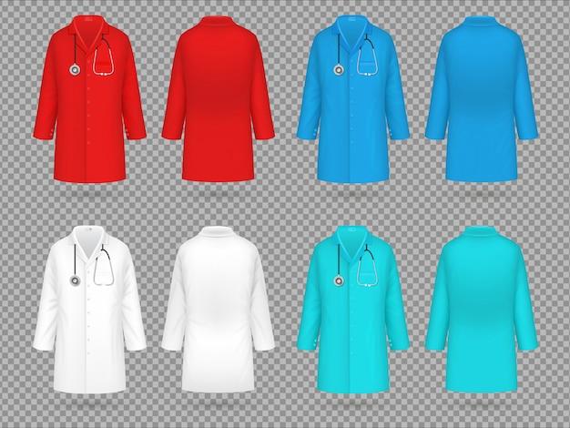 Casaco de médico. uniforme de laboratório colorido, roupas de laboratório médico médico realista