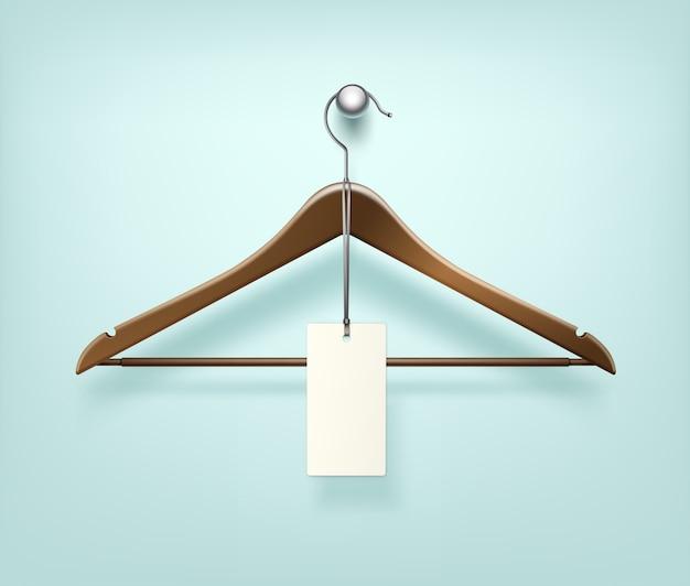 Casaco de roupas cabide de madeira marrom com etiqueta de venda Vetor Premium