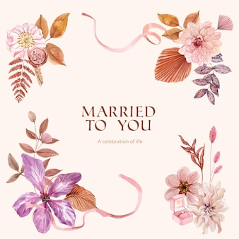 Casado com você cartão de casamento em estilo aquarela