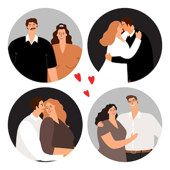 Casais apaixonados em avatares redondos