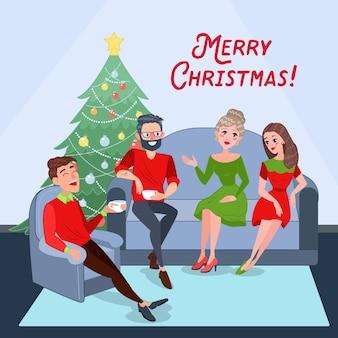 Casais comemorando o natal