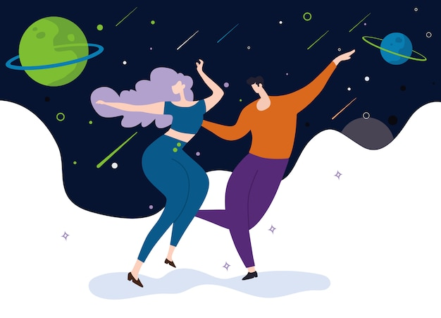 Casais dançando no fundo de estrelas