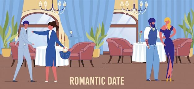 Casais de amor se encontram no restaurante. relações humanas.