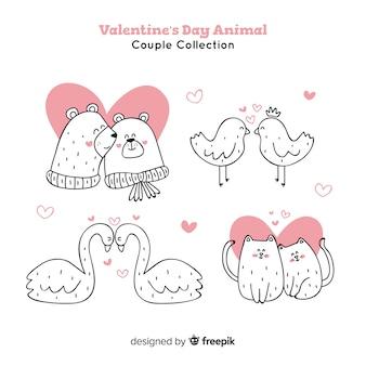 Casais de animais de dia dos namorados
