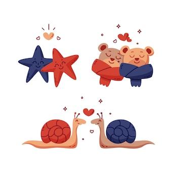Casais de animais fofos dia dos namorados com caracóis e ursos