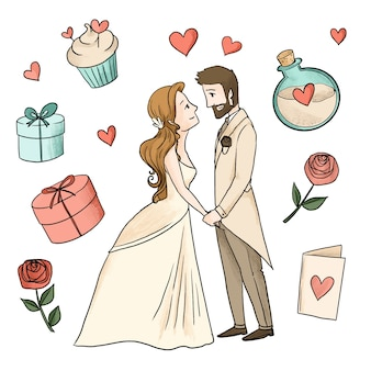 Casais de aquarela casamento com presentes embrulhados