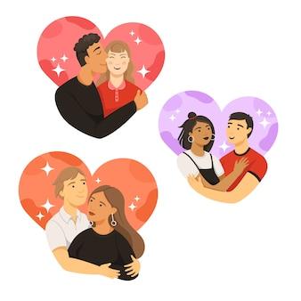 Casais de avatar na coleção de corações