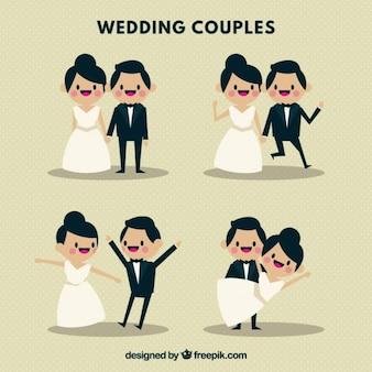 Casais de casamento agradável e jovens