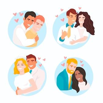 Casais de casamento apaixonado