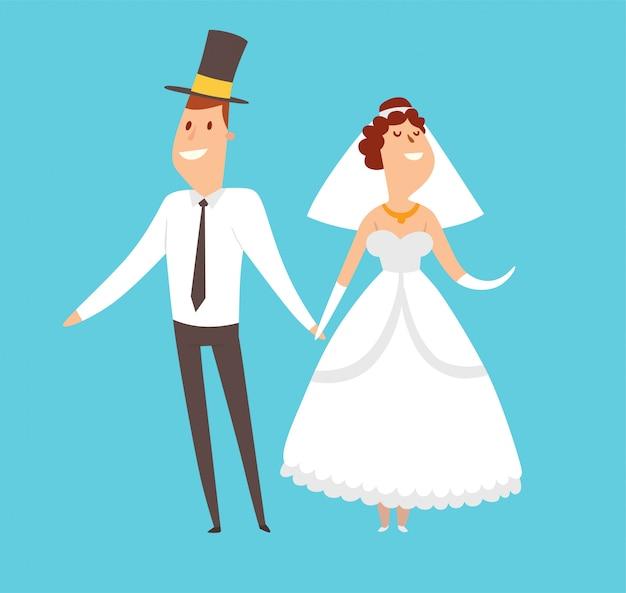 Casais de casamento cartoon ilustração de estilo