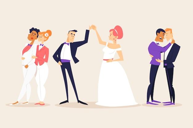 Casais de casamento com noiva e noivo