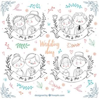 Casais de casamento desenhados à mão com detalhes de cores