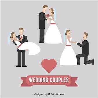 Casais de casamento design plano