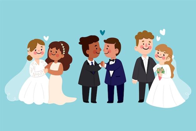 Casais de casamento em design plano
