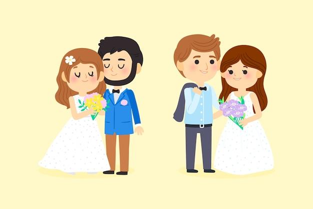 Casais de casamento estilo cartoon