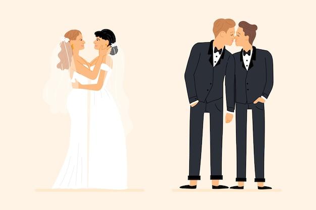 Casais de casamento homossexual mão desenhada