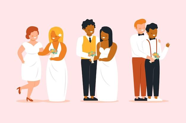 Casais de casamento lindo