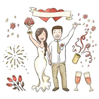 Casais de casamento mão desenhada comemorando