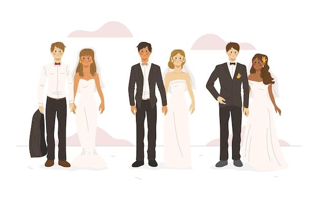 Casais de casamento mão desenhada