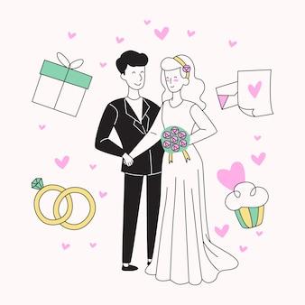 Casais de casamento na mão desenhada estilo