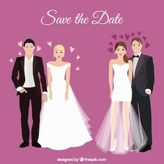Casais de casamento romântico