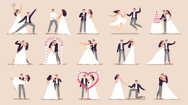 Casais de casamento.