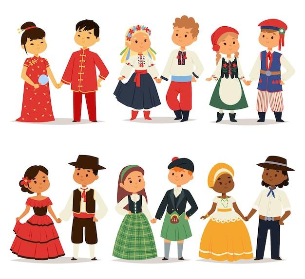 Casais de crianças tradicionais, personagens do mundo, vestem meninas e meninos em diferentes trajes nacionais e lindos vestidos de nacionalidade de crianças pequenas Vetor Premium