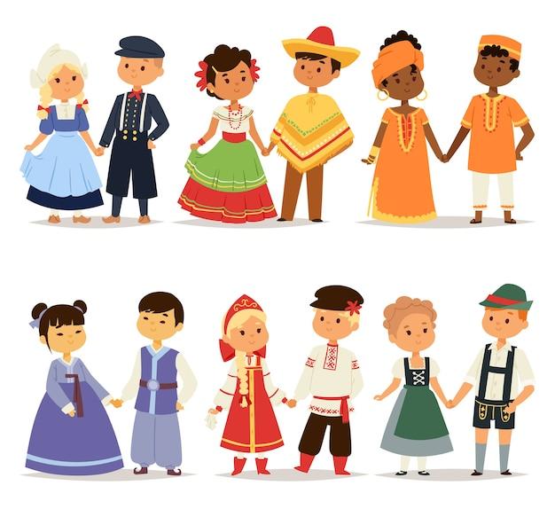 Casais de crianças tradicionais, personagens do mundo, vestem meninas e meninos em diferentes trajes nacionais e lindos vestidos de nacionalidade de crianças pequenas