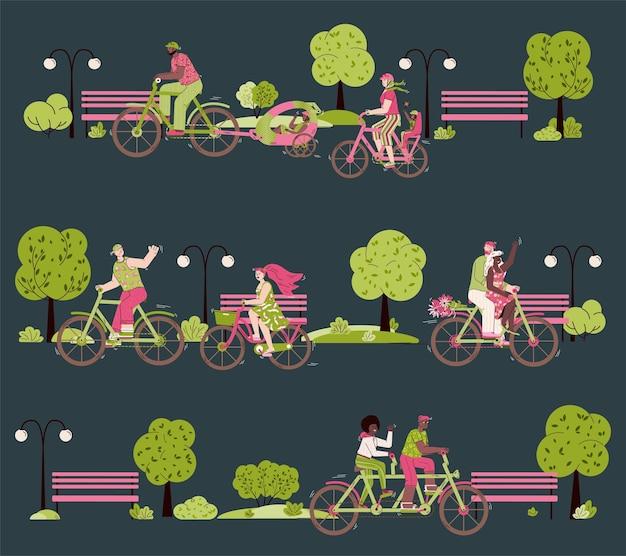 Casais de desenho animado andando de bicicleta juntos no parque noturno