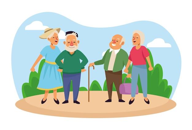 Casais de idosos nos personagens idosos ativos do acampamento.