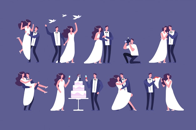 Casais de noivos. noiva e noivo na cerimônia de casamento. casar pessoas conjunto isolado de caracteres