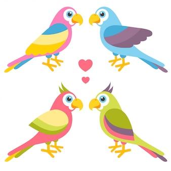 Casais de papagaios coloridos de desenho animado apaixonados