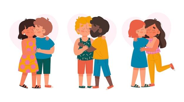 Casais desenhados à mão se beijando