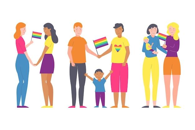 Casais e famílias comemorando a coleção de ilustrações de dia do orgulho