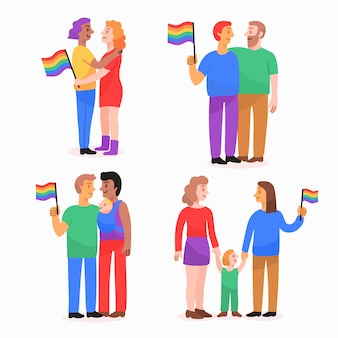 Casais e famílias comemorando o dia do orgulho conjunto de ilustrações