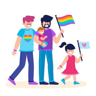 Casais e famílias comemorando o dia do orgulho juntos