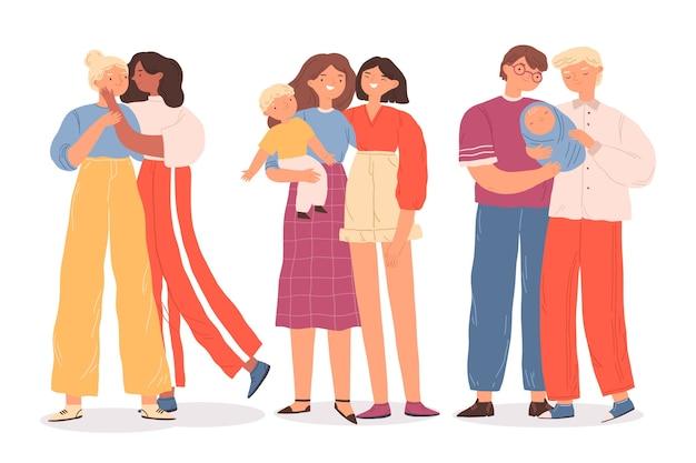 Casais e famílias comemorando o dia do orgulho